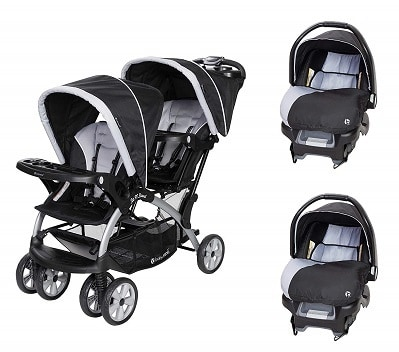 BABY TREND SIT N STAND TANDEM STROLLER CAR SEATS 2 TRAVEL SYSTEM