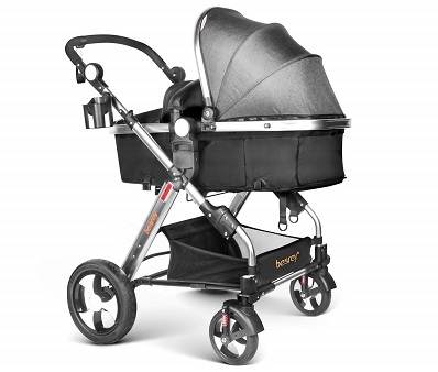 Infant Baby Stroller for Newborn and Toddler Besrey Convertible Bassinet Stroller Luxury Pram Compact Single Baby Carriage