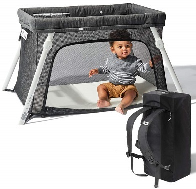Lotus Travel Crib - Backpack Portable Lightweight Easy to Pack Play-Yard with Comfortable Mattress