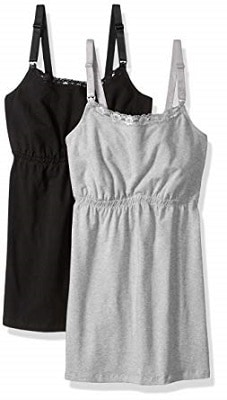 Loving Moments by Leading Lady Womens Cotton Nursing Tank with Lace Trim and Full Sling