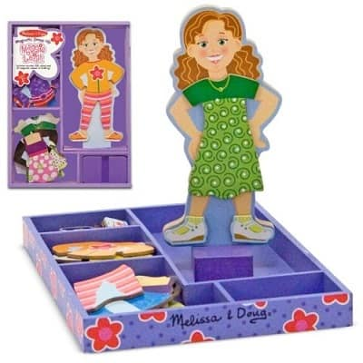 Melissa Doug Maggie Leigh Magnetic Wooden Dress Up Doll Pretend Play Set